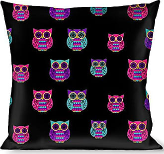Buckle Down Pillow Decorative Throw Owls Black Fuchsia Purple Turquoise