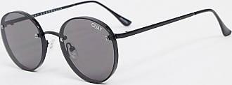 Quay Farrah round sunglasses in black with smoke lens