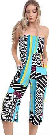 Momo & Ayat Fashions Ladies Lightweight Strapless Culotte Bandeau Short Cropped Jumpsuit Bardot Playsuit UK Size 8-26 (L/XL (UK 16-18), Multi Abstract)