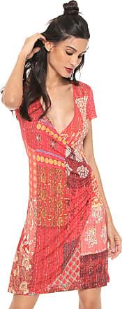 Desigual Vestido Desigual Curto Estampado Vermelho