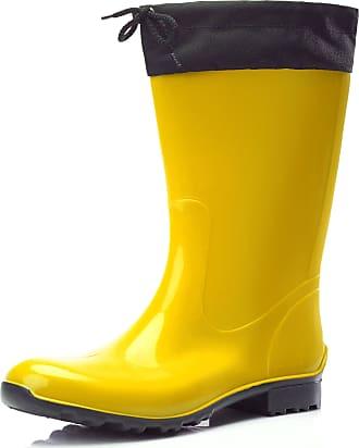 Ladeheid Womens Rubber Wellington Boots with Calf LA-968 (Yellow/Black, 3.5 UK)