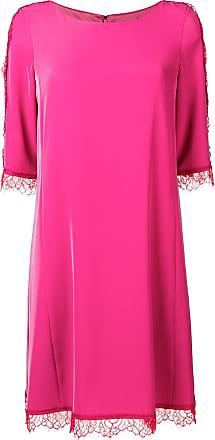 Blumarine Vestido bordado com renda - Rosa