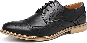 LanFengeu Men Brogue Shoes Retro Casual Leather Lace up Flats Office Work Anti Slip Breathable Business Formal Dress Shoe Black
