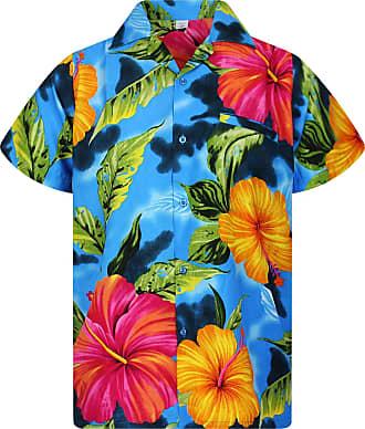 V.H.O. Funky Hawaiian Shirt, Big Flower, lightblue, 3XL
