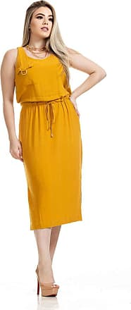 Clara Arruda Vestido Midi Clara Arruda Linho Utilitário 50569-36 - Amarelo
