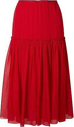 Giambattista Valli Giambattista Valli Woman Gathered Silk-chiffon Midi Skirt Crimson Size 44