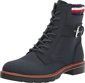 72b06fc60981 Tommy Hilfiger Womens Morten Combat Boot Navy 9.5 M US