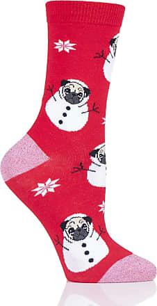 SockShop SOCKSHOP Wild Feet Ladies Gift Boxed Bauble Box Novelty Cotton Socks Pack of 1 Pug 4-8