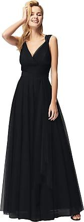 Ever-pretty V Neck Empire Waist Floor Length A Line Elegant Tulle Long Evening Dresses Black 18UK
