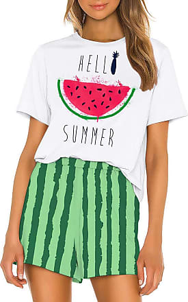 OLIPHEE Nightwear Tracksuit Summer Short Sleeves T Shirt Casual Shorts Bottoms for Women&Girl Summer Fashion Watermelon XL