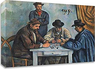 Tangletown Fine Art The Card Players Canvas Art 28x22 Blue, Brown