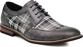 Enzo Jeans Titan03 Mens Spectator Tweed Plaid Two Tone Wingtips Oxfords Perforated Lace Up Dress Shoes Grey Size: 12