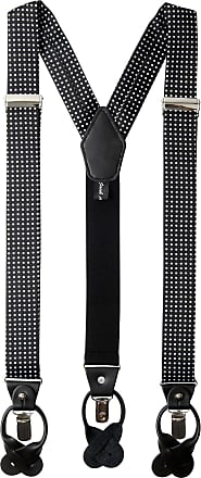 Jacob Alexander Mens Polka Dot Y-Back Suspenders Braces Convertible Leather Ends and Clips - Black