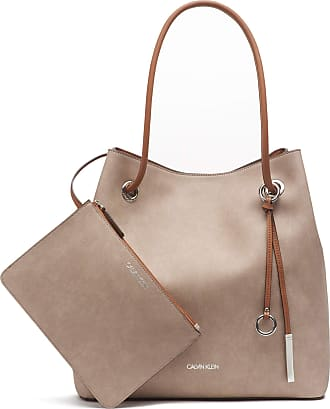 Calvin Klein Womens Gabrianna Bubble Lamb North/South Key Item Tote, Light Grey, One Size