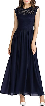 MuaDress 6056 Womens Lace Chiffon Cocktail Party Dresses Elegant Long Formal Dresses L Navy