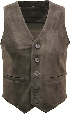 Infinity Mens Goat Suede Classic Smart Brown Leather Waistcoat 4XL