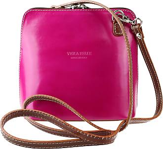 Girly HandBags Girly HandBags Genuine Leather Rigid Cross Body Shoulder Bag Real Italian Handbag - Fuchsia Dark Tan