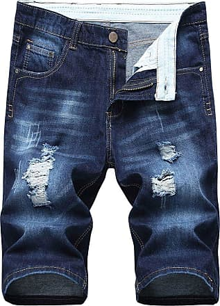 Yonglan Mens Slim Fit Shorts Jeans Shorts Knee Length Hole Ripped Denim Jeans Half Pants Dark Blue 34
