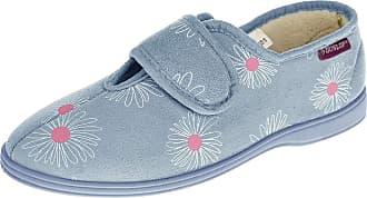 Footwear Studio Dunlop Womens Faux Suede Hook and Loop Slippers Ladies Fleece Lined House Slipper Blue UK 7