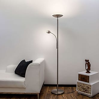 Lindby Lámpara LED de pie Malea con luz lectura, níquel