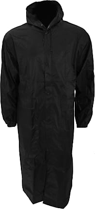 Universal Textiles Mens Long Length Waterproof Hooded Coat/Jacket (XXL Chest: 52-55inch) (Black)