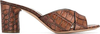 Casadei crocodile-effect mules - Brown