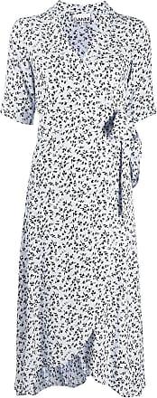 Ganni Vestido envelope com estampa floral - Azul