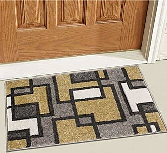 Well Woven 600913 Gold Imagination Squares Modern Geometric 2 x 3 Mat Accent Area Rug