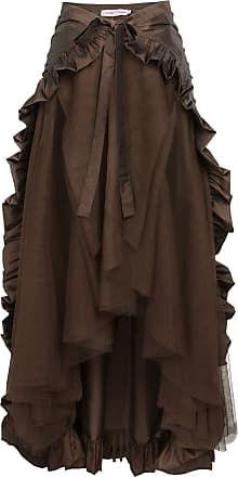 Belle Poque Steampunk Gothic Pirate Skirt High Low Victorian Lace-Up Ruffle Skirt Brown XL
