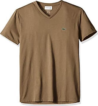 Lacoste Mens Short Sleeve V Neck Pima Jersey T-Shirt, TH6710, Dark Kraft, Large