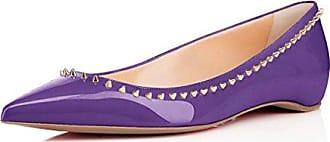 1c0bf6d55a00f1 Kolnoo Damen Mode Geschlossene Ballerinas mit Gold Nieten Violett Größe EU36