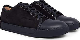 Lanvin Cap-toe Suede And Leather Sneakers - Midnight blue