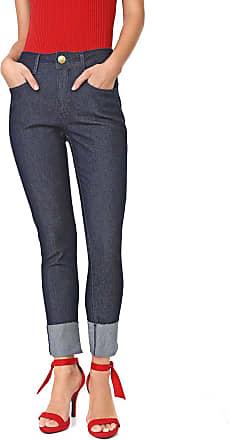 Lança Perfume Calça Jeans Lança Perfume Skinny Cropped Lisa Azul-marinho