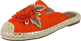 Spot On Ladies Flower Embellishment Espadrille Mules - Orange Microfibre - UK Size 7 - EU Size 40 - US Size 9