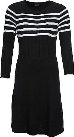4fe6241e849 Bodyflirt Dam Stickad klänning med randig design i svart 3/4-ärm - BODYFLIRT