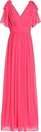 Badgley Mischka Badgley Mischka Woman Bow-embellished Pleated Georgette Gown Pink Size 0