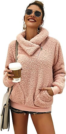 YYW Womens Winter Lapel Sweatshirt Faux Shearling Shaggy Warm Pullover Zipped Up with Pockets Tops (Pink,S)
