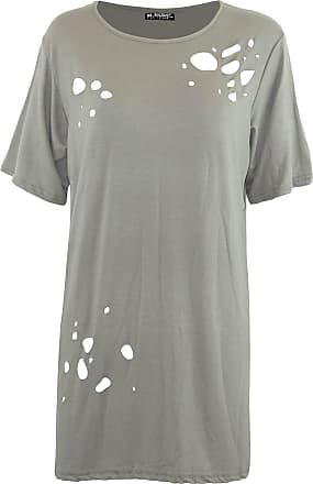 Be Jealous Women Ladies Oversized Destroyed Distressed Ripped Laser Cut Out Baggy T Shirt Khaki