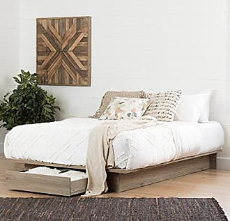 South Shore Furniture Primo Full/Queen Platform Bed (54/60) with drawer, Rustic Oak