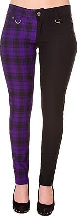Banned Womens Purple Banned Half Tartan Plaid Check Emo Punk Split Leg Skinny Trousers - (XL/34/UK 16)