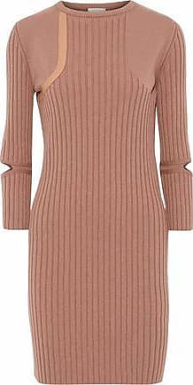 03a6ad1ad5 Nina Ricci Nina Ricci Woman Cutout Leather-trimmed Ribbed Wool-blend Mini  Dress Tan
