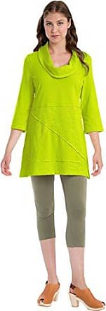 Neon Buddha Womens 100% Cotton Top Female 3 4 Sleeve Tunic with Cowl Neck and Exposed Seams,Lime Surf,Medium