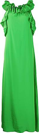 P.A.R.O.S.H. accordion pleat trimmed maxi dress - Green