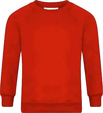 21Fashion Adults Kids Crew Neck Plain Sweatshirt Girls Boys School Office Wear Jumper Top Red X Large