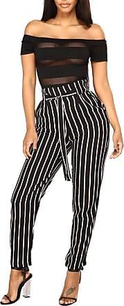 JERFER Women High Waist Harem Pants Women Bowtie Elastic Waist Stripe Casual Autumn Trousers Autumn Pants for Women Black