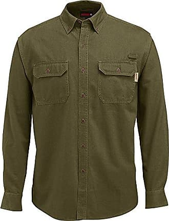 Wolverine Mens Fletcher Soft and Rugged Twill Long Sleeve Shirt, Olive, X-Large