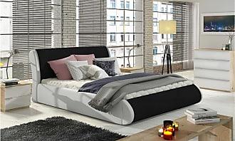Stylefy Argia Polsterbett Schwarz | Weiß 180x200