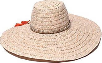 ále by Alessandra Womens Palapa Large Brim Raffia Floppy Hat With Metallic Sari Trim, Natural, One Size