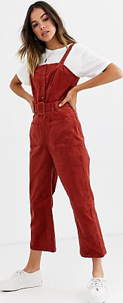 Glamorous belted jumpsuit in corduroy-Red