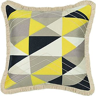 Trina Turk Colfax Brush Fringe Embroidered Pillow, 20x20 Inch, Yellow